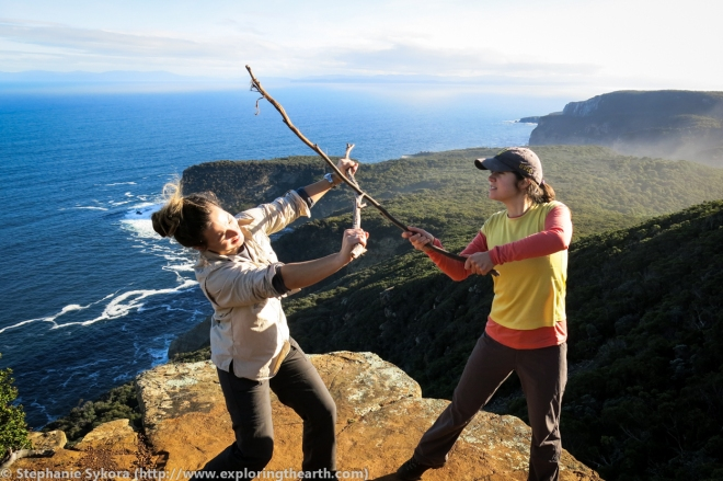 Australia, Travel, School, Graduate, Grad School, PhD, MSc, Research, Geology, Tasmania, Ocean, Fighting, Sticks